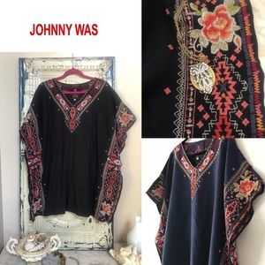 Johnny Was embroidered V neck zona poncho tunic
